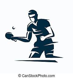 logo, vektor, schablone, tennis, ping pong, silhouette, stilisiert, tisch, spieler