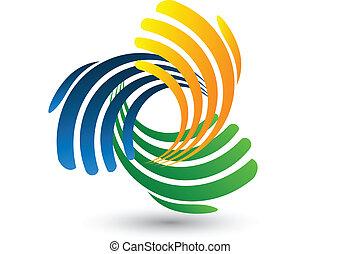 logo, vektor, verbinden, hände