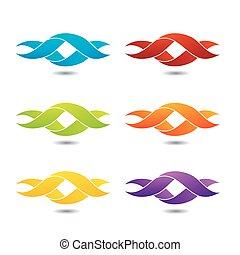 logo, verdreht, ribbon-, abstrakt