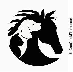 Logo von Hundekatze und Pferd.