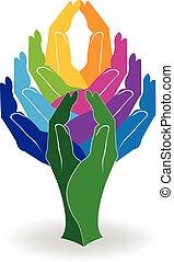 Logobaum Hände farbenfroh.