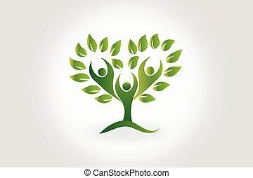 Logobaum mit Blättern Teamwork Menschen Symbol.