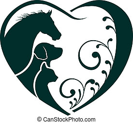 Logopferd, Hund und Katze lieben das Herz.