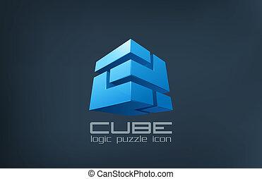 Logowürfeltechnologie abstrakt. Logische Rätsel-Ikone.