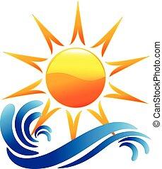 Logowellen und Sonnenvektor.