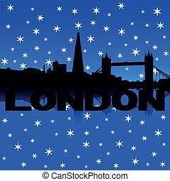 London Skyline Schnee Illustration.