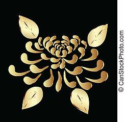 lotos, goldenes, blume, logo