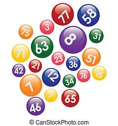 Lotteriebälle mit Zahlen.
