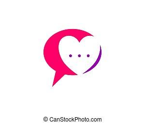Love chat talk love logo design template.