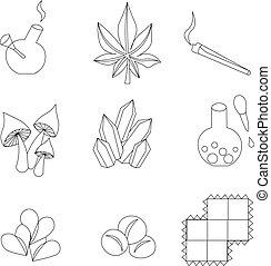 lsd, qualmende , heiligenbilder, drugs., marken, satz, marihuana, products.