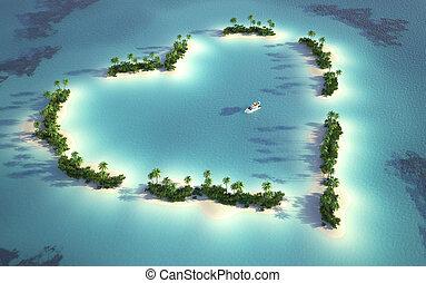 Luftaufnahme der herzförmigen Insel
