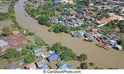Luftaufnahme von Überschwemmungen in Thailand.