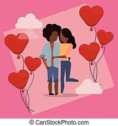 luftballone, afro, helium, herzen, paar, liebhaber