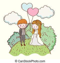 luftballone, frau, wolkenhimmel, mann, herzen