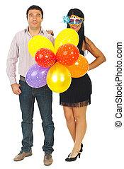 luftballone, paar, party