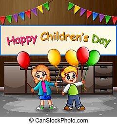 luftballone, tag, glücklich, kinder, kinder, begriff, besitz