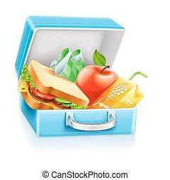 Lunchbox mit Sandwich-Apfel und Saft