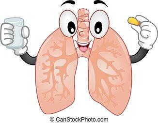lungen, maskottchen, tablette
