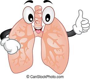 lungen, maskottchen, zeichen, ok