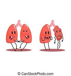 Lungen menschliches inneres Organ gesund gegen ungesunde, medizinische anatomische lustige Zeichen-Zeichen Paar im Vergleich glücklich gegen krank und beschädigt