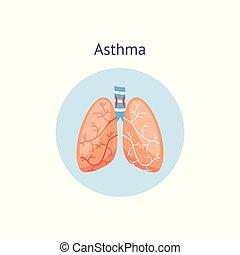 lungs., medizin, asthma, menschliche , ikone