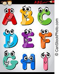 Lustige Buchstaben Cartoon-Illustration