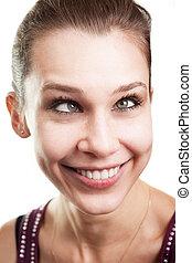 Lustige Frau mit gekreuzten Augen