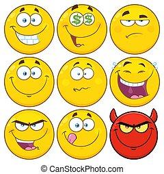 Lustige gelbe Zeichentrick-Emoji Gesicht Zeichen gesetzt 2. Sammlung