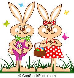 Lustige Kaninchen mit Korb mit Osteiern