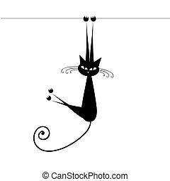Lustige Katze, schwarz für dein Design