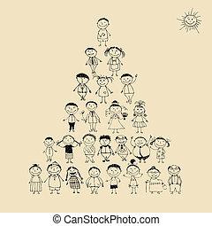 Lustige Pyramide mit glücklich großer Familie, die zusammen lächelt und Sketch zeichnet