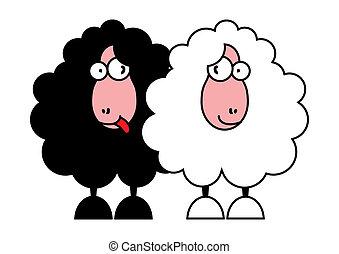 Lustige, schwarze und weiße Schafe