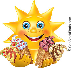 Lustige Sonne mit köstlichen Eiscremes