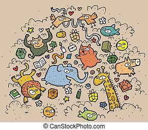 lustige tiere, illustration., gezeichnet, objects:, hand, vektor, abbildung, mode!, eps10, zusammensetzung