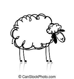 Lustige weiße Schafe, Skizze für dein Design