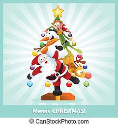 Lustige Weihnachtskarten-Collage