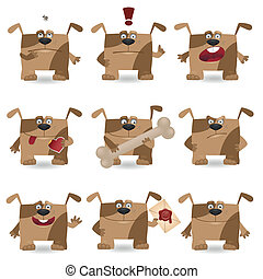 Lustiger Cartoon-Hund-Set