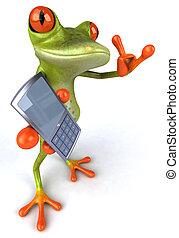 Lustiger Frosch mit Telefon.