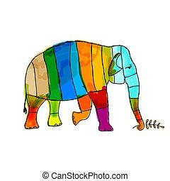 Lustiger gestreifter Elefant für dein Design