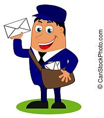 Lustiger Postbote mit Sack und Brief