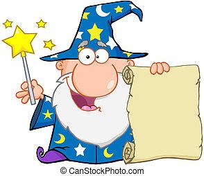 Lustiger Zauberer, der eine Schriftrolle hochhält