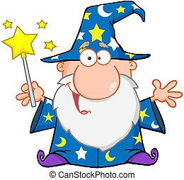 Lustiger Zauberer, der mit Zauberstab winkt