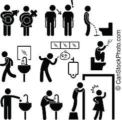 Lustiges öffentliches Toiletten-Icon-Pictogramm