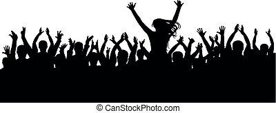 lustiges, concert, silhouette, beifall, crowd, freigestellt, leute., hintergrund, schultern, hurrarufen, silhouette, heiter, vector., partei., m�dchen, mann