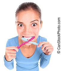 lustiges, frau, toothbrushing