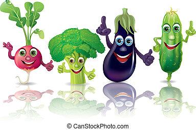 Lustiges Gemüse, Radieschen, Brokkoli, Auberginen, Gurke