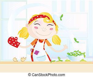 Lustiges Küchenmädchen