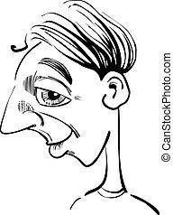 lustiges, karikatur, mann