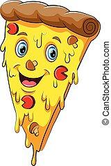 lustiges, karikatur, zeichen, pizza