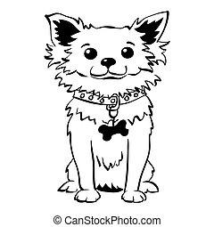 lustiges, skizze, chihuahua, sitzen, hund, vektor